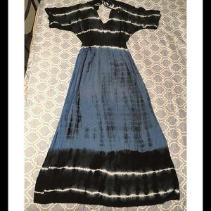 Earthbound Blue and Black Maxi Dress
